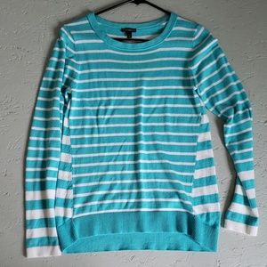 Turquoise and white stripe sweater